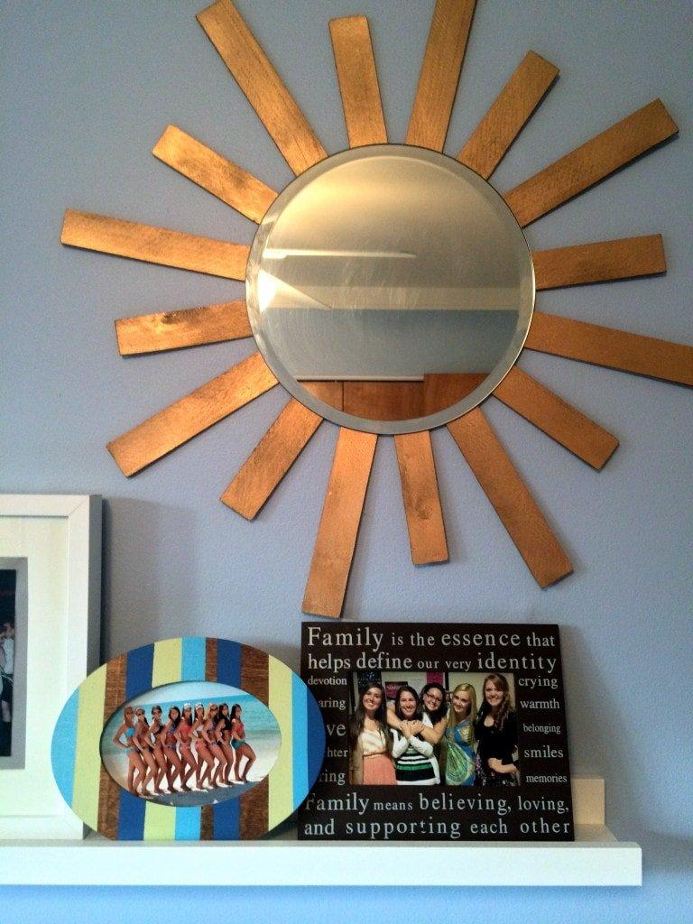 picture ledge with sunburst mirror