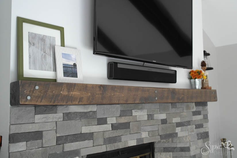 """Airstone & Easy Rustic Fireplace """"Reclaimed Wood"""" Mantle How-To - Sypsie Designs"""